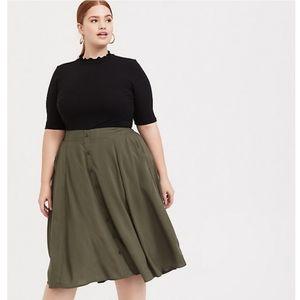 NWOT Torrid Olive Green Button Midi Skirt